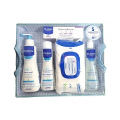 Mustela Canastilla Azul cream balm 50Ml + Colonia S/Alcohol 200Ml+ Hydra Bebe 300Ml + Cleaning 200Ml + Wipes 70U.